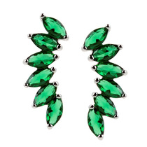 Brinco De Prata Cristais Verde Esmeralda Pratamania
