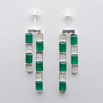 Brinco Prata 925, Jade E Diamante, Cód. 7000