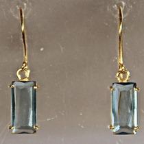 Rsp J3236 Brinco Prata 950 A Ouro Topázio Azul Frete Grátis