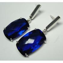 Brinco Quartzo Azul Cor De Safira Lindo Em Prata 950