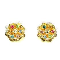 Brinco Flor Dourada Com Pedrinhas Coloridas 00111001 Bijuslu