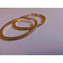 Brinco Argola 5.5cm Par Diamonte Rhinestone Dourado 1 Camada
