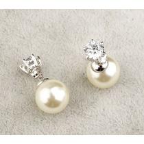 Brinco Feminino Pérola Dior Banhado Ouro Branco 18k Cristal