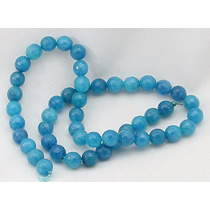 Jade Azul Amazonita Esfera Facetada 8mm Teostone Colar 2534