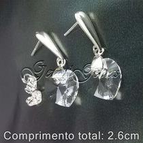 Lindo Brinco Prata 950 Zirconea Coração 10mm +frete Grátis