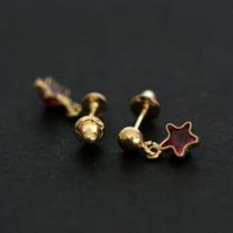 Brinco De Ouro 18k Estrela Com Pedra De Zirconia Vermelha