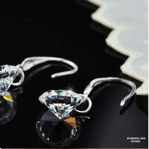 Brinco De Prata 925 Diamante Zircônia Cúbica 8mm Linda Jóia