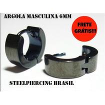 Brinco Masculino Argola Articulada 6mm Par Preta Aço Inox