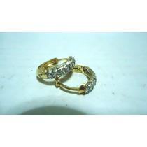 Joia Brincos Argola Pedras Fecho Click Ouro 18k/750 Certific