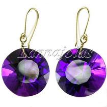 Ouro 18k Brincos Lilás Púrpura Ametista Redonda Diamante