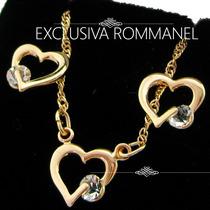 Rommanel Brinco Folheado Ouro 18k Zircônia Conjunto 524177