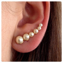Brinco Em Prata Folheado A Ouro 18k Ear Cuff Pérolas