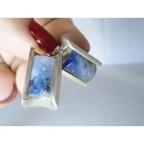 Brinco Prata Macica 925, Quartzo Azul Lindo!