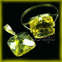 Conjunto Ouro 18kl Anel E Pingente Citrino Amarelo Frtgr