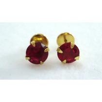 Brincos Recém Nascidos Pedra Vermelha Rubi Joia Ouro 18k