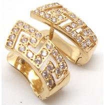 Joalheriavip Brincos Brilhantes De Zircônias Ouro Rosê 18k