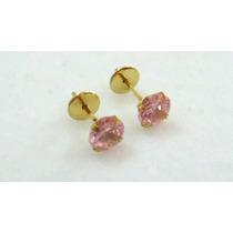 Brincos Cálice Rosa 4 Mm Joia Delicada Ouro 18k Certificado