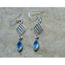 Lindo Brinco Indiano De Topázio Azul E Prata 925