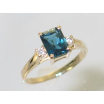 Anel Namorada!em Ouro18k 2 Pedras Diamantes+topazio Natural!