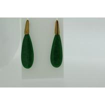Brinco De Pedra Natural Jadi Verde Ouro 18k 750 Com Garantia