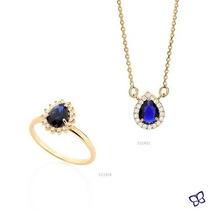 Conjunto Rommanel Folheado,gargantilha+anel Cristal Azul