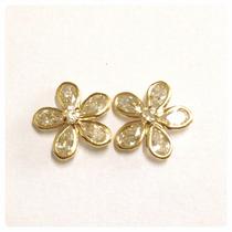 Brincos Pedras Brilhantes Flores 12mm Ouro 18k Certificado