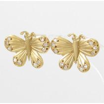 Esfinge Jóias - Brinco Borboleta Com Diamantes Ouro 18k 750.