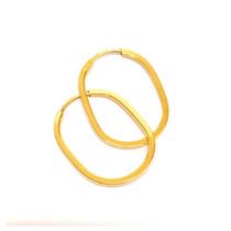 Brincos Argola Oval Joia Delicada Ouro Amarelo 18k Certifica