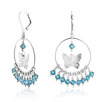 Bling Jewelry Borboleta Brincos De Prata De Cristal De Água