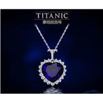 Kit Colar Coração Oceano Azul Titanic + Anel Marinho Azul