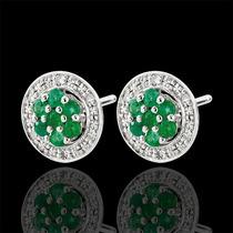 Brinco Chueiro Com Diamantes E Esmeraldas Centro Em Ouro 18k