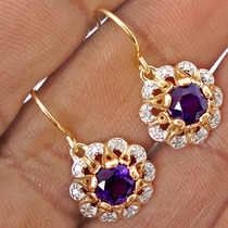 Ametista E Diamante Naturais- Brinco De Prata 925- Ouro 18k