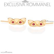Rommanel Ear Cuff Triangulos Zirconia Brinco Fol Ouro 525347