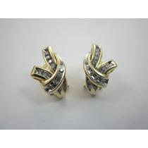 Luxuosos Brincos Com Diamantes - Ouro 14k - 5.97gr