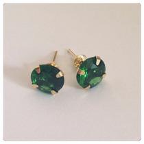 Brincos Verde Esmeralda Pedra 7mm Joia Ouro 18k Certificado