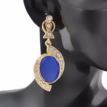 Lindo Brinco Dourado Strass Pedra Azul Festa Luxo Madrinha