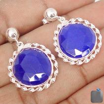 Brinco Prata 925 Natural Com Sáfira Azul Lindo