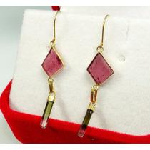 Brinco Em Ouro 18k 750 Com Turmalina Rosa E Lápis Bicolor