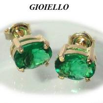 Brincos Folhado Ouro 18k Cristal Na Cor Esmeralda 3003/1