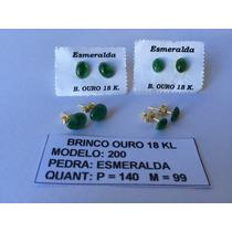 Semijóias - Brinco Com Pedra Esmeralda