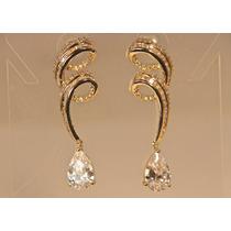 Rsp J3177 Brinco Espiral B. Ouro Com Topázios Sedex Grátis