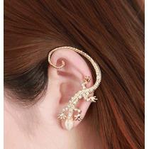 Ear Cuff Retrô Lagarto Dourado Com Cristais