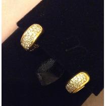 Brincos Argolas Com Diamantes Brancos, Ouro Amarelo