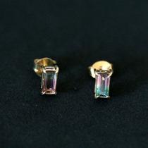 Brinco De Ouro 18k 0750 Com Pedra Natural Turmalina Bicolor