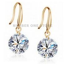 Brinco Prata 925 Folheado Ouro 18k Swarovski Diamante