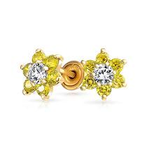 Bling Jewelry 14k Ouro Flor Bebê Brincos Citrina Cz