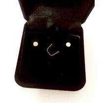 Brinco Infantil /segundo Furo Pedra Zirconia 3mm Em Ouro 18k