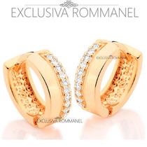 Rommanel Brinco Argola Com 20 Zirconias Folh Ouro 18k 524766