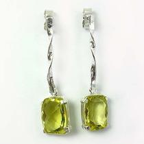 Lindo Brinco Green Gold Natural Trilhante Prata 950k Maciça