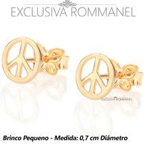 Rommanel Brinco Redondo Paz E Amor Folheado Ouro 18k 524474